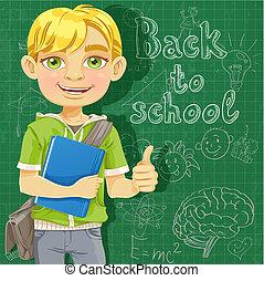 Blond teenage boy near school board