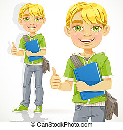 Blond teenage boy with a textbook