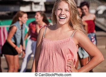 Blond Teenage Girl Laughing