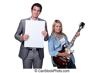 Blond teenager guitar lesson