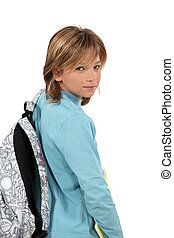 blond teenager with backpack