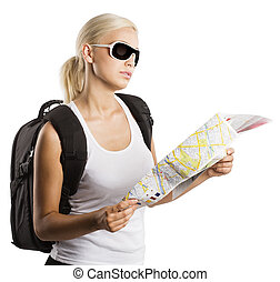 blond tourist - young blond girl with sunglasses looking at...