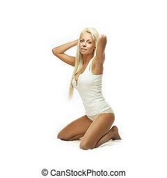Blond underwear beauty