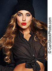 blond włos, girl., makijaż, i, kędzierzawy, hairstyle., piękno, fason, portret