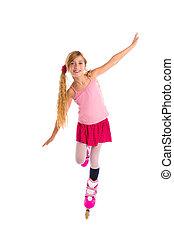 blond, warkocze, rolkowa łyżwa, dziewczyna, pełna długość, na białym
