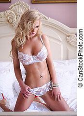 blond, weißes, damenunterwäsche, frau, sexy