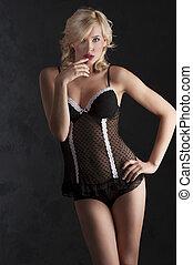 blond with black sexy underwear