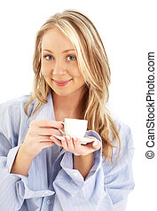blond with cup of coffee