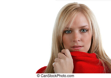 Beautiful blond wrapped in red with an intense stare