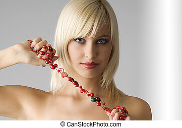 blond with necklace