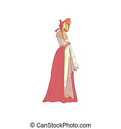 Blond woman in a long old-fashioned skirt and a hood. Vector...