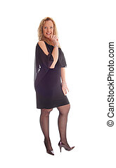 Blond woman in black dress.