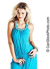 blond woman in blue dress