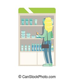 Blond Woman In Pharmacy Choosing And Buying Drugs And Cosmetics, Part Of Set Of Drugstore Scenes With Pharmacists And Clients