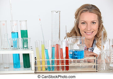 Blond woman in research lab