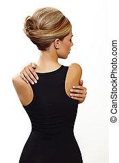 blond woman in sexy black dress - beautiful woman wearing...