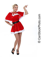 Blond woman in sexy Santa costume