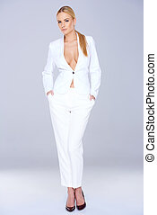 Blond Woman in White Elegant Fashion Outfit