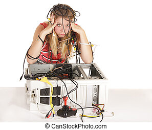blond woman lost in technology