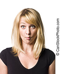 Blond woman making a funny face