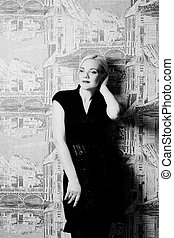 blond woman posing black and white