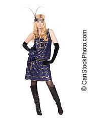 Blond woman posing in dress
