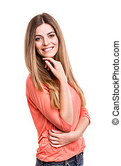 Blond woman posing over white background