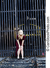Blond Woman Red Dress Outdoors Railroad Tracks