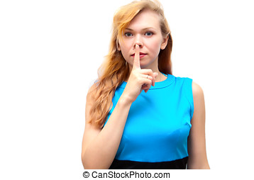 Blond woman showing quiet sign