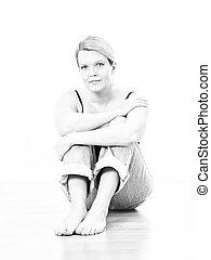 Blond Woman sitting in Black White
