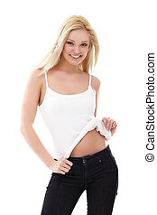 Blond woman - Smiling sexy blond woman in white shirt and...