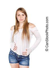Blond woman touching tummy