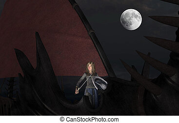 Blond woman Viking warrior with sword and shield at moonlight