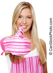 Blond woman wearing kitchen apron
