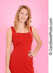 blond woman wearing red dress