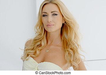 Blond Woman Wearing Strapless Dress - Portrait of Blond...