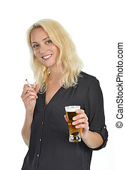 Blond woman with a beer in her hand