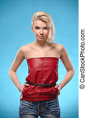 Blond woman with bare shoulders
