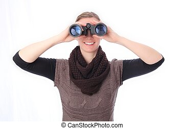Woman with binoculars sight frontal