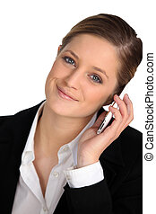 Blond woman with mobile phone