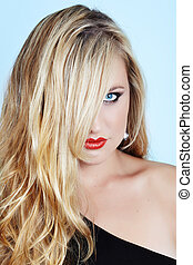 blond woman with red lipstick