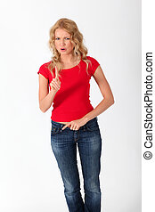 8440c85d Blond woman posing with blank red shirt. Young beautiful blond ...