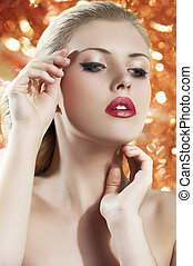 blond woman with redgolden lips