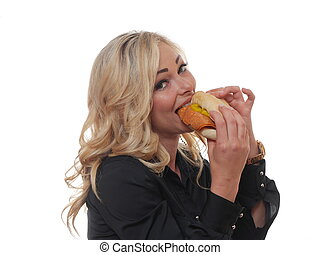 Blond woman with sandwich.