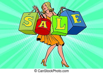 Blond woman with shopping bags sale