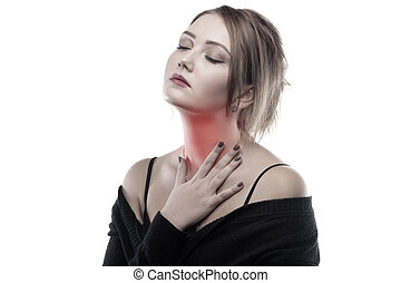 Blond woman with sore throat