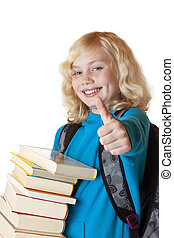 Blond, young and beautiful girl with books holds thumb up.