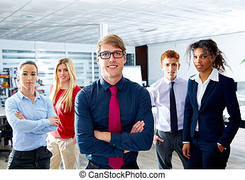 Blond young businessman multi ethnic teamwork