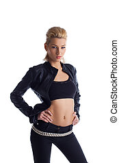 Blond young woman in black leather jacket