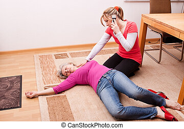 young woman makes an emergency call - blond young woman...